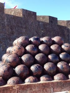 Cannonballs at Flags at Castillo San Cristobal
