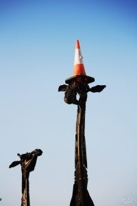 Edinburgh: Cone on Giraffe Sculpture
