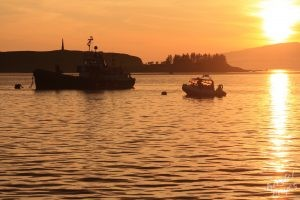 Oban: Boats at Sunset