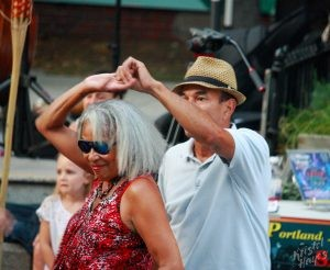 Couple Salsa Dancing in Congress Square