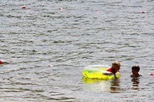 Kids swimming on Androscoggin Lake