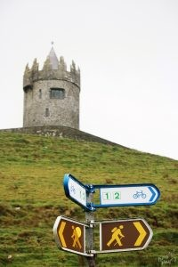 Hiking Past Doonagore Castle-Road to Cliffs of Moher, Ireland