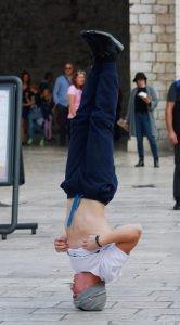 Breakdancer Standing on Head, Dubrovnik Croatia