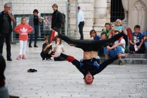 Breakdancer on His Head, Dubrovnik Croatia